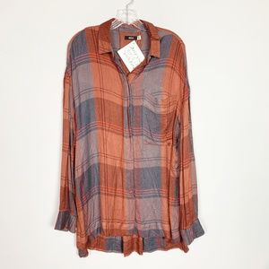 Urban Outfitters | oversized plaid flannel orange